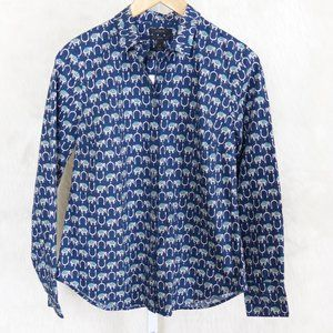 J.Crew Perfect Shirt Navy Blue Elephants